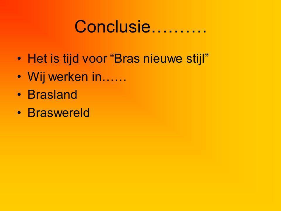 Conclusie………. Het is tijd voor Bras nieuwe stijl Wij werken in…… Brasland Braswereld