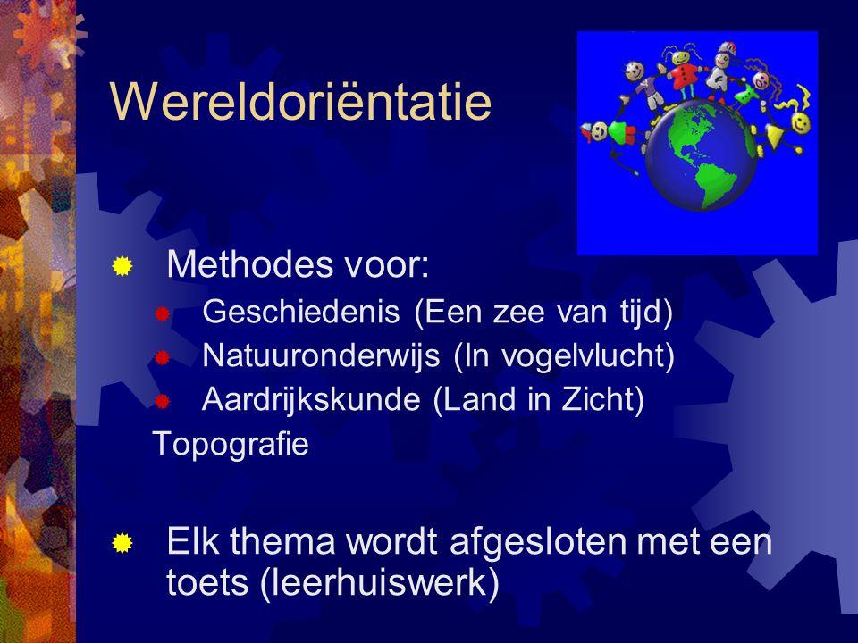Wereldoriëntatie  Methodes voor:  Geschiedenis (Een zee van tijd)  Natuuronderwijs (In vogelvlucht)  Aardrijkskunde (Land in Zicht) Topografie  E