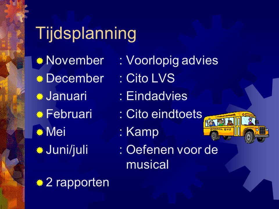 Tijdsplanning  November: Voorlopig advies  December: Cito LVS  Januari : Eindadvies  Februari: Cito eindtoets  Mei: Kamp  Juni/juli: Oefenen voo