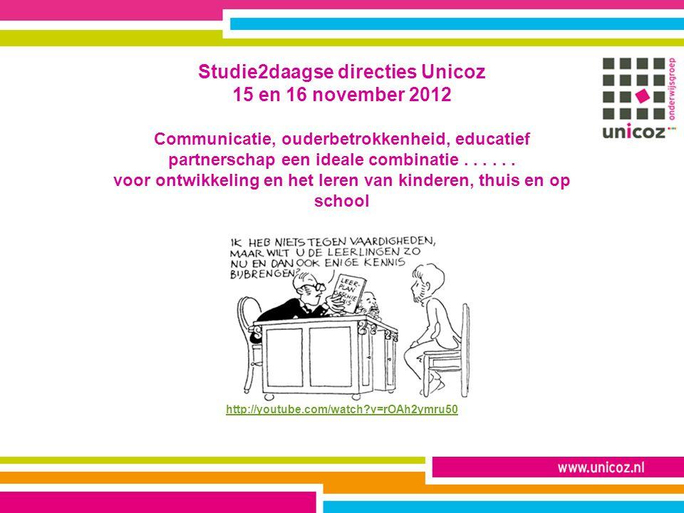 Studie2daagse directies Unicoz 15 en 16 november 2012 Communicatie, ouderbetrokkenheid, educatief partnerschap een ideale combinatie...... voor ontwik