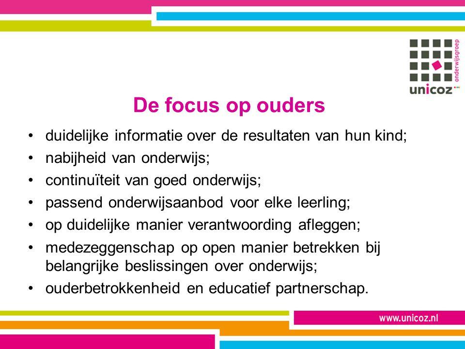 De focus op ouders duidelijke informatie over de resultaten van hun kind; nabijheid van onderwijs; continuïteit van goed onderwijs; passend onderwijsa
