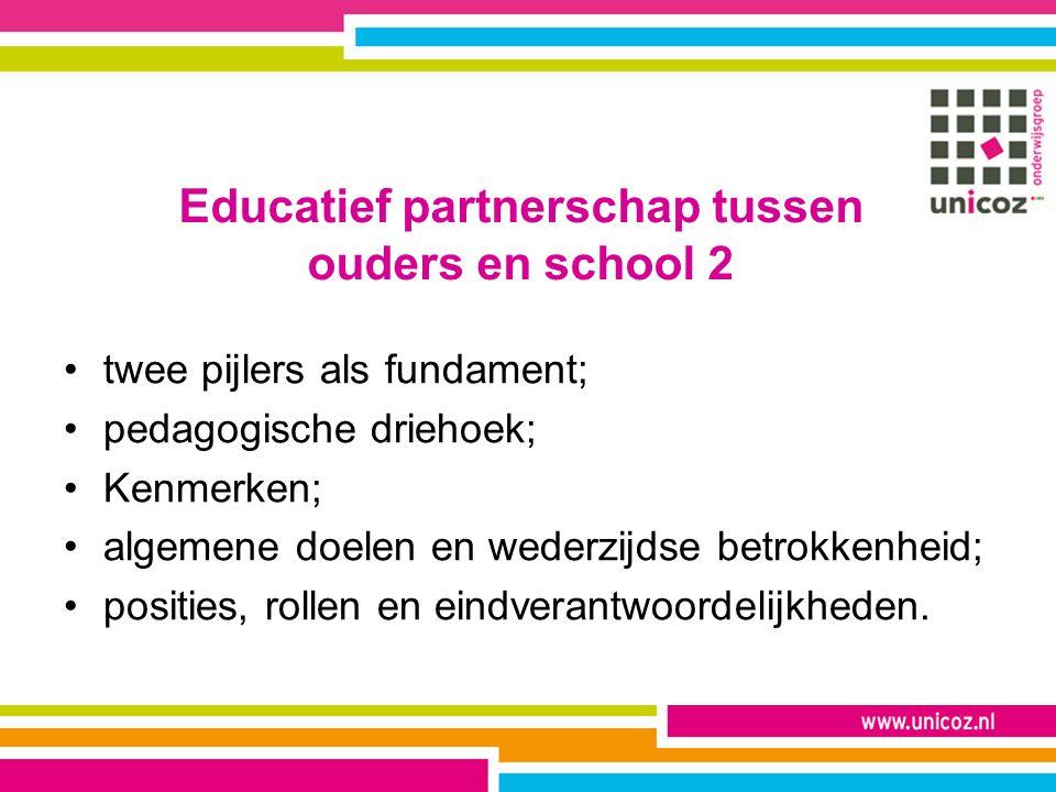Educatief partnerschap tussen ouders en school 2 twee pijlers als fundament; pedagogische driehoek; Kenmerken; algemene doelen en wederzijdse betrokke