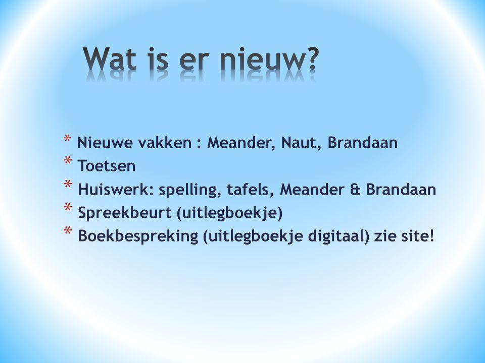 * Nieuwe vakken : Meander, Naut, Brandaan * Toetsen * Huiswerk: spelling, tafels, Meander & Brandaan * Spreekbeurt (uitlegboekje) * Boekbespreking (uitlegboekje digitaal) zie site!