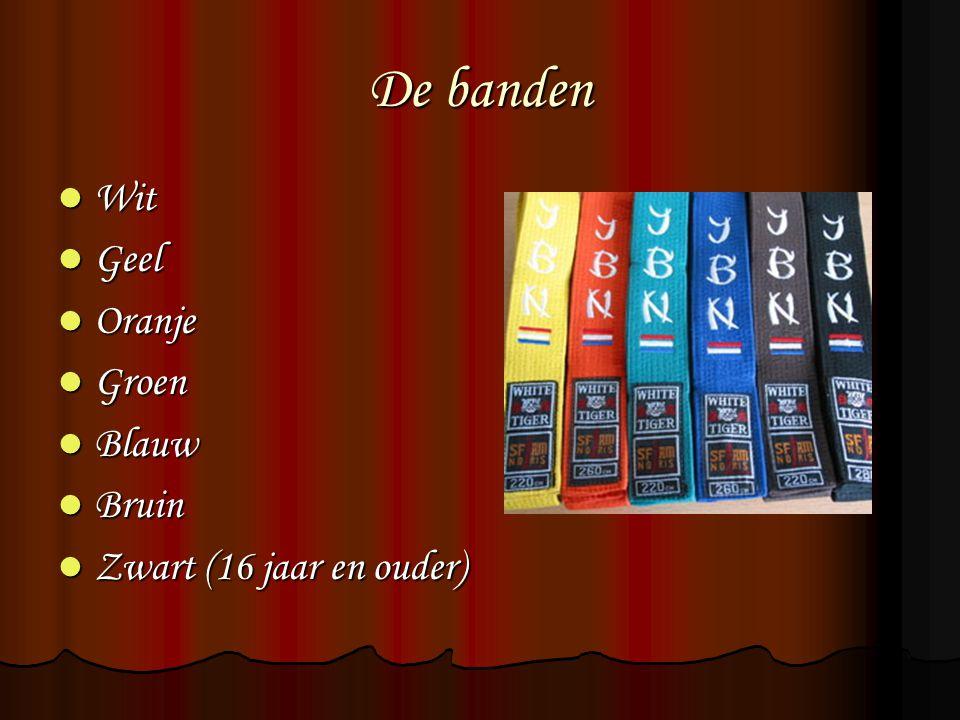 De banden Wit Wit Geel Geel Oranje Oranje Groen Groen Blauw Blauw Bruin Bruin Zwart (16 jaar en ouder) Zwart (16 jaar en ouder)