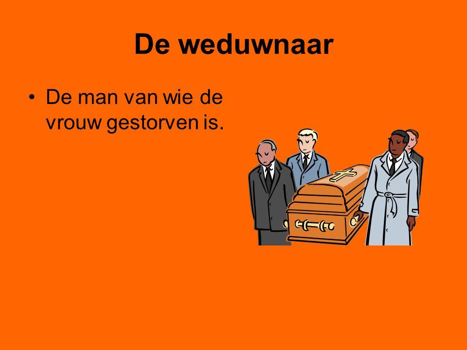 De weduwnaar De man van wie de vrouw gestorven is.