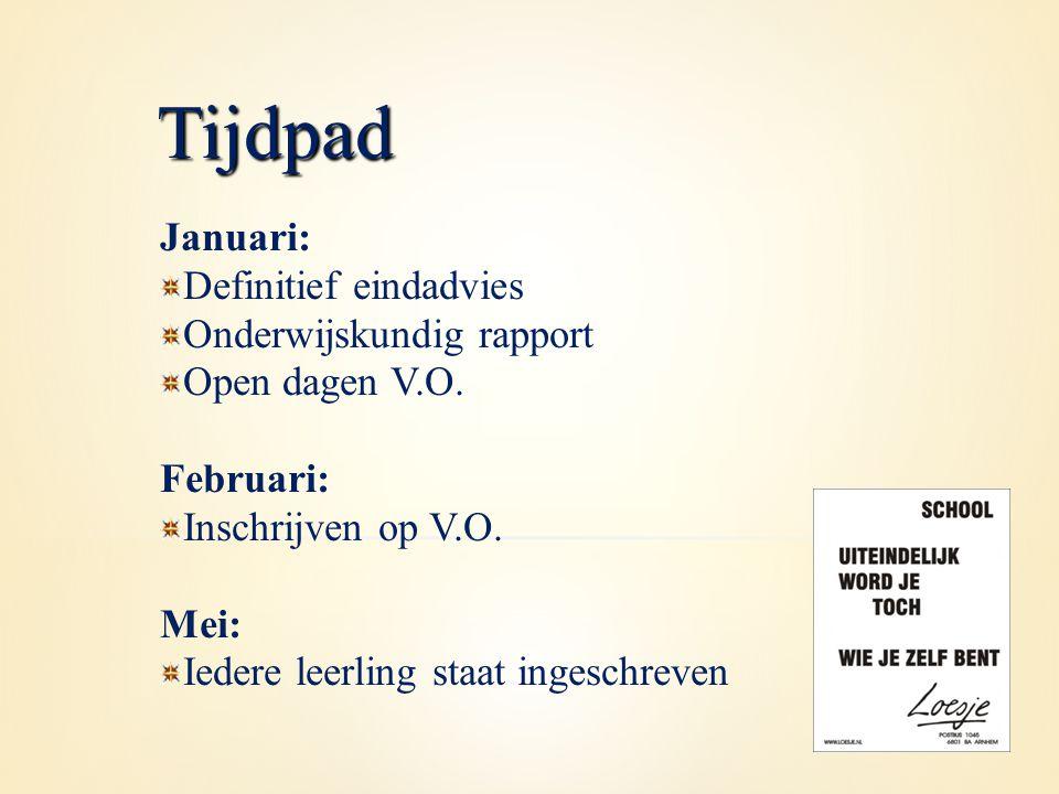 Januari: Definitief eindadvies Onderwijskundig rapport Open dagen V.O. Februari: Inschrijven op V.O. Mei: Iedere leerling staat ingeschreven Tijdpad
