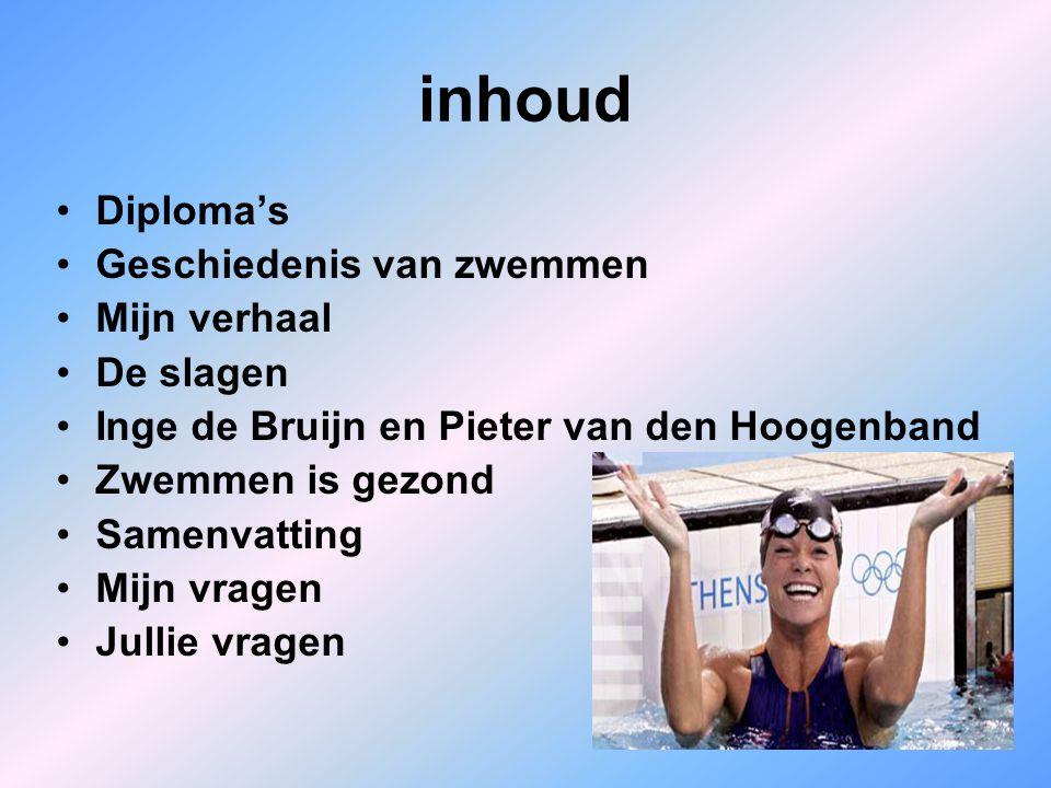 inhoud Diploma's Geschiedenis van zwemmen Mijn verhaal De slagen Inge de Bruijn en Pieter van den Hoogenband Zwemmen is gezond Samenvatting Mijn vrage