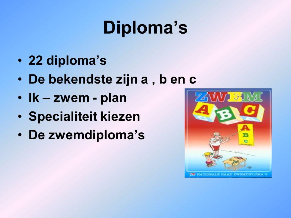 Diploma's 22 diploma's De bekendste zijn a, b en c Ik – zwem - plan Specialiteit kiezen De zwemdiploma's