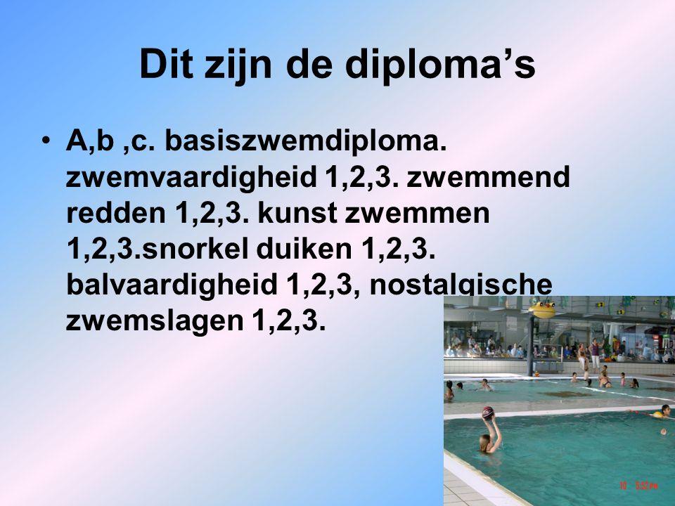 Dit zijn de diploma's A,b,c. basiszwemdiploma. zwemvaardigheid 1,2,3. zwemmend redden 1,2,3. kunst zwemmen 1,2,3.snorkel duiken 1,2,3. balvaardigheid