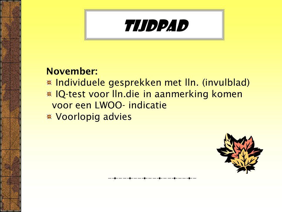 Tijdpad November: Individuele gesprekken met lln.