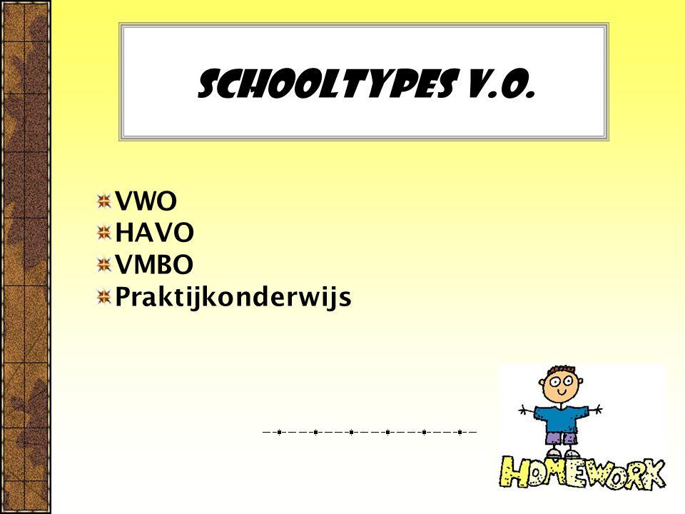 Schooltypes V.O. VWO HAVO VMBO Praktijkonderwijs