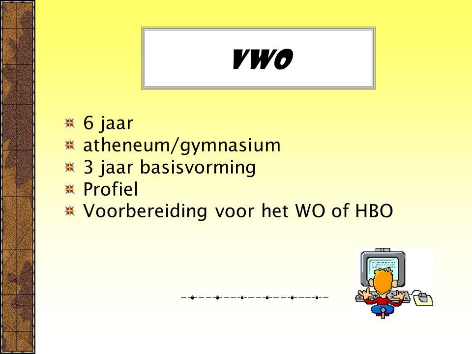 Vwo 6 jaar atheneum/gymnasium 3 jaar basisvorming Profiel Voorbereiding voor het WO of HBO