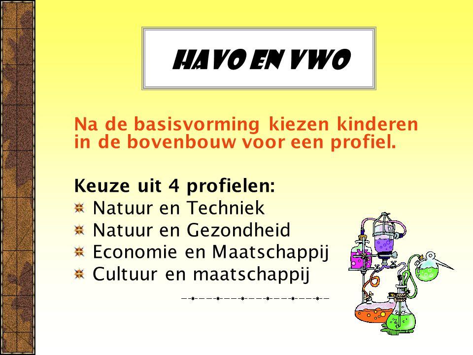 Havo en vwo Na de basisvorming kiezen kinderen in de bovenbouw voor een profiel.