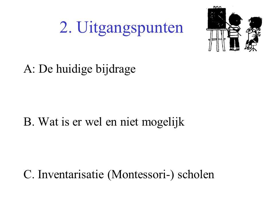2. Uitgangspunten A: De huidige bijdrage B. Wat is er wel en niet mogelijk C.