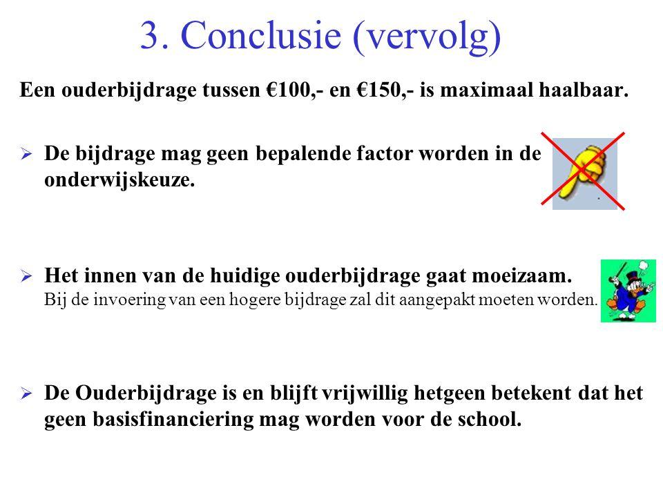 3. Conclusie (vervolg) Een ouderbijdrage tussen €100,- en €150,- is maximaal haalbaar.