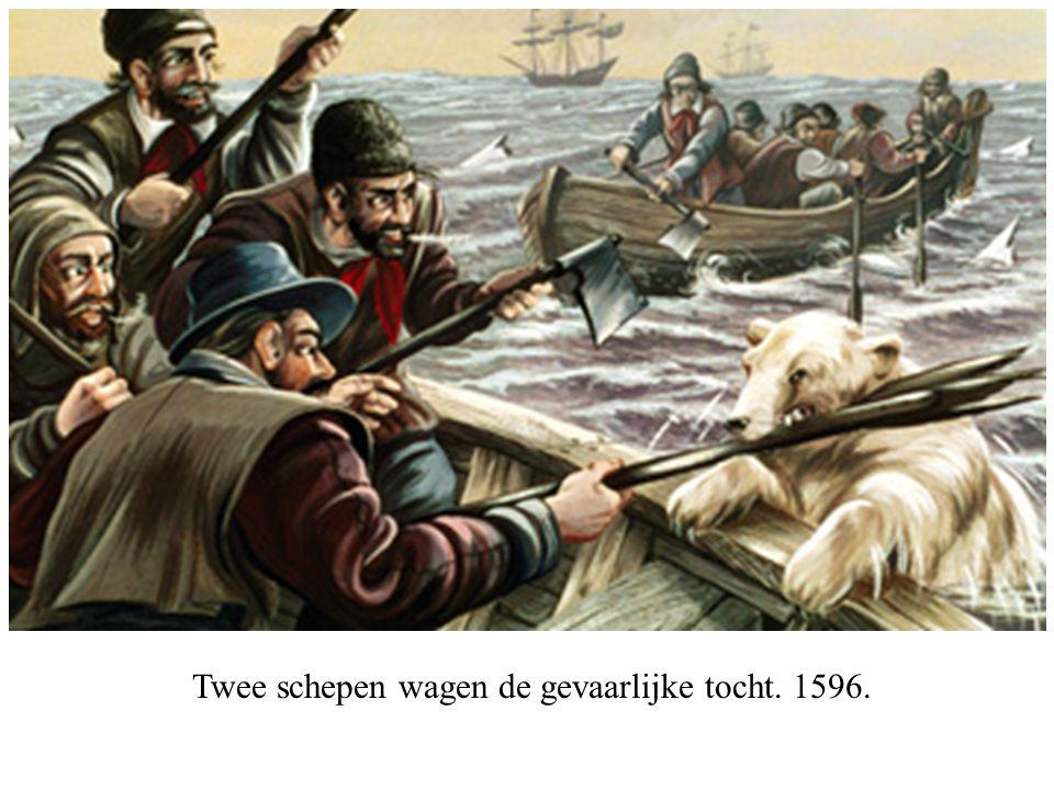 Twee schepen wagen de gevaarlijke tocht. 1596.