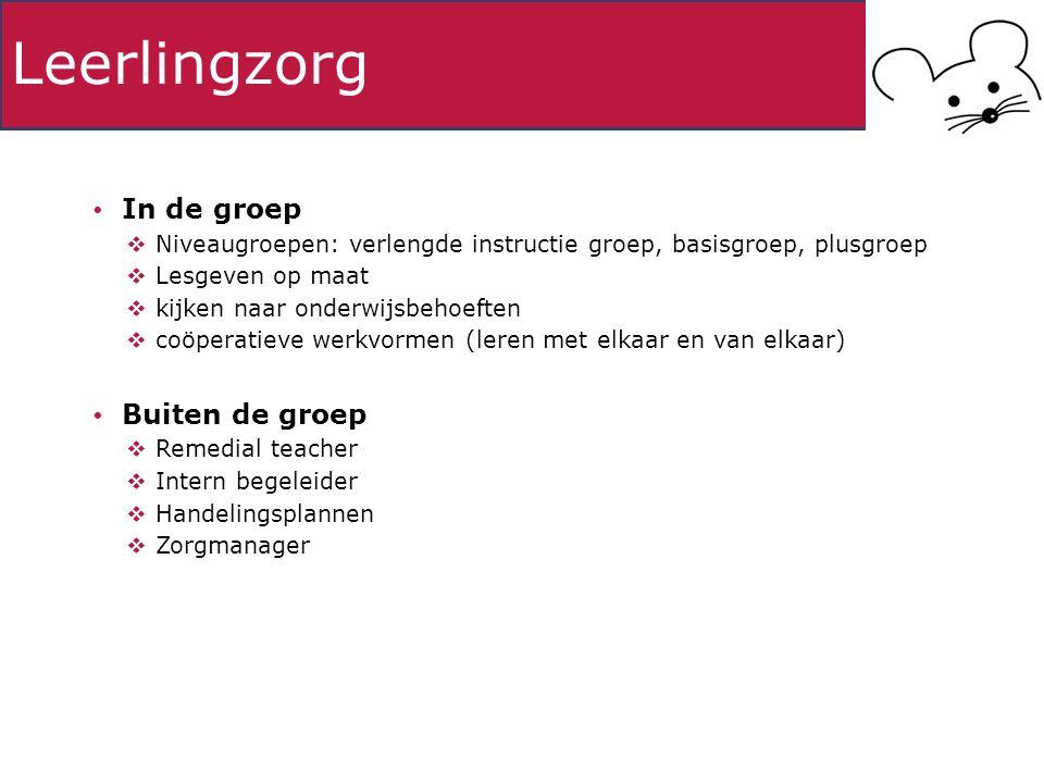 Leerlingzorg In de groep  Niveaugroepen: verlengde instructie groep, basisgroep, plusgroep  Lesgeven op maat  kijken naar onderwijsbehoeften  coöp