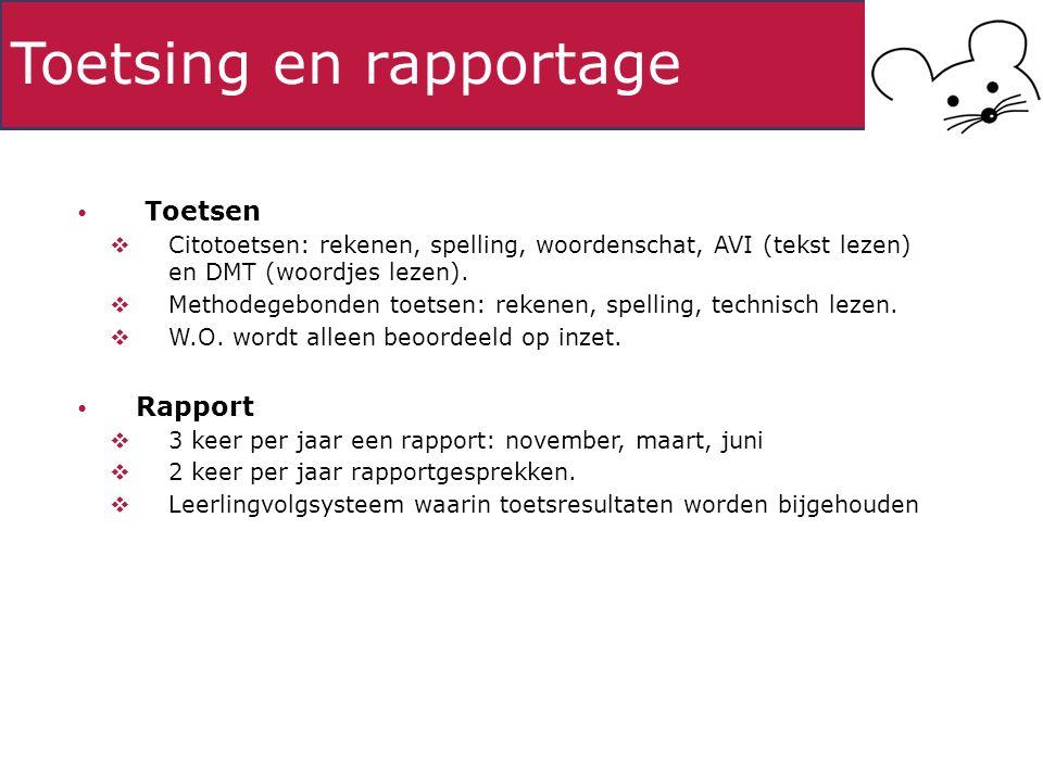 Toetsing en rapportage Toetsen  Citotoetsen: rekenen, spelling, woordenschat, AVI (tekst lezen) en DMT (woordjes lezen).