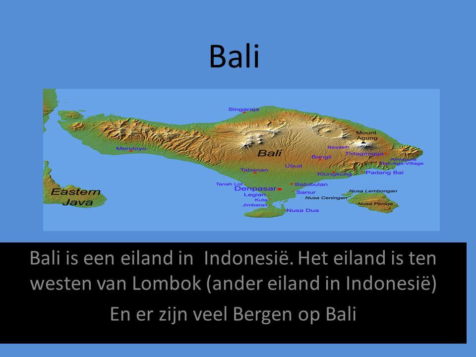 Bali Bali is een eiland in Indonesië. Het eiland is ten westen van Lombok (ander eiland in Indonesië) En er zijn veel Bergen op Bali