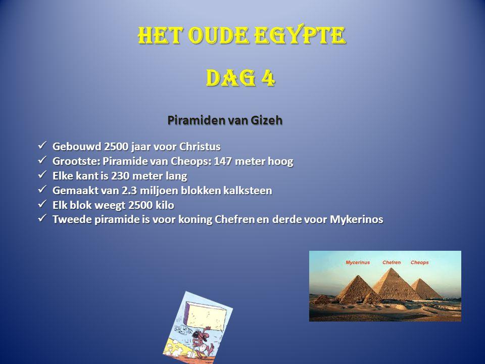 Het oude Egypte Gebouwd 2500 jaar voor Christus Gebouwd 2500 jaar voor Christus Grootste: Piramide van Cheops: 147 meter hoog Grootste: Piramide van C