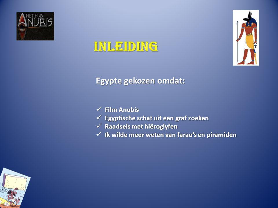 Inleiding Egypte gekozen omdat: Film Anubis Film Anubis Egyptische schat uit een graf zoeken Egyptische schat uit een graf zoeken Raadsels met hiërogl