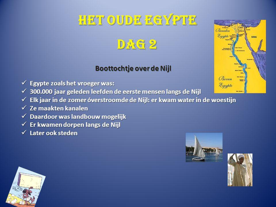 Het oude Egypte Egypte zoals het vroeger was: Egypte zoals het vroeger was: 300.000 jaar geleden leefden de eerste mensen langs de Nijl 300.000 jaar g