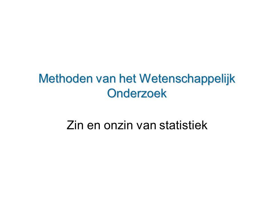 Methoden van het Wetenschappelijk Onderzoek Zin en onzin van statistiek