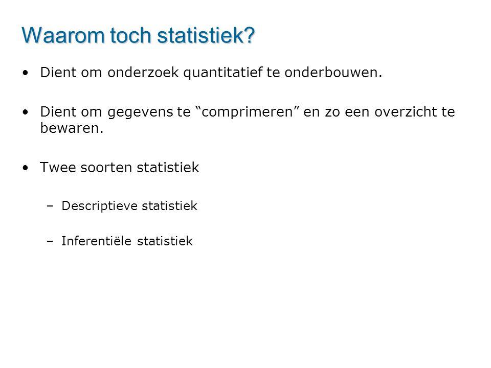 """Waarom toch statistiek? Dient om onderzoek quantitatief te onderbouwen. Dient om gegevens te """"comprimeren"""" en zo een overzicht te bewaren. Twee soorte"""