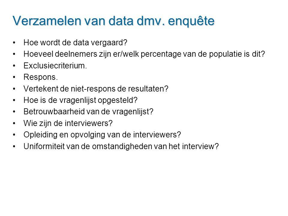 Verzamelen van data dmv. enquête Hoe wordt de data vergaard? Hoeveel deelnemers zijn er/welk percentage van de populatie is dit? Exclusiecriterium. Re