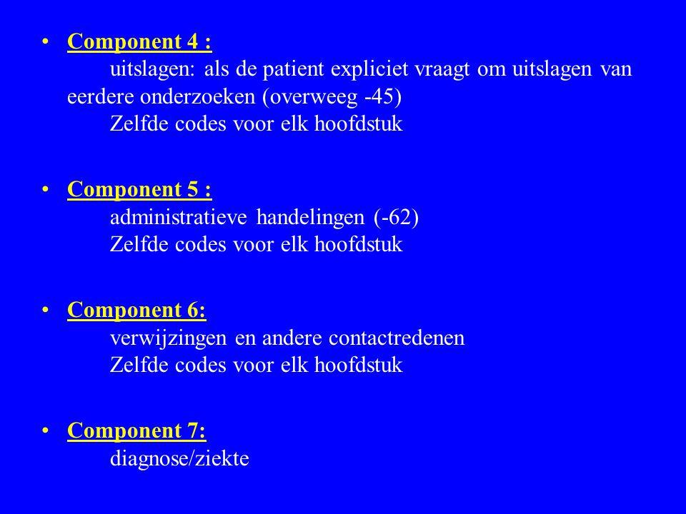 Component 4 : uitslagen: als de patient expliciet vraagt om uitslagen van eerdere onderzoeken (overweeg -45) Zelfde codes voor elk hoofdstuk Component