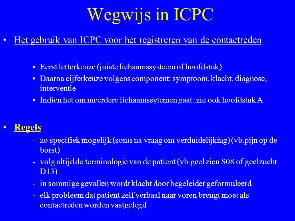 Wegwijs in ICPC Het gebruik van ICPC voor het registreren van de contactreden Eerst letterkeuze (juiste lichaamssysteem of hoofdstuk) Daarna cijferkeu