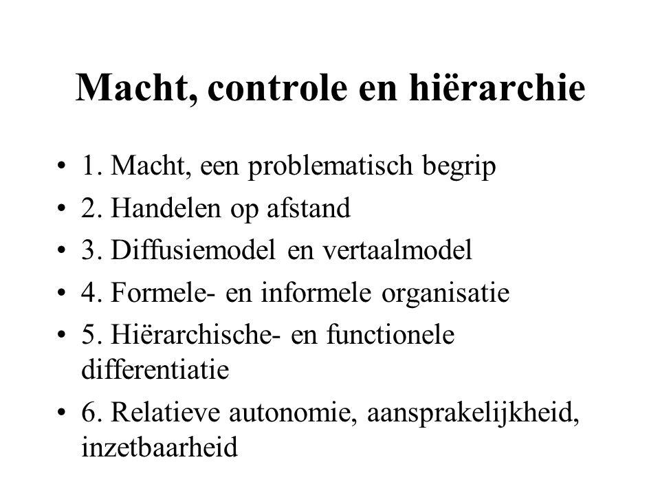 Macht, controle en hiërarchie 1. Macht, een problematisch begrip 2. Handelen op afstand 3. Diffusiemodel en vertaalmodel 4. Formele- en informele orga
