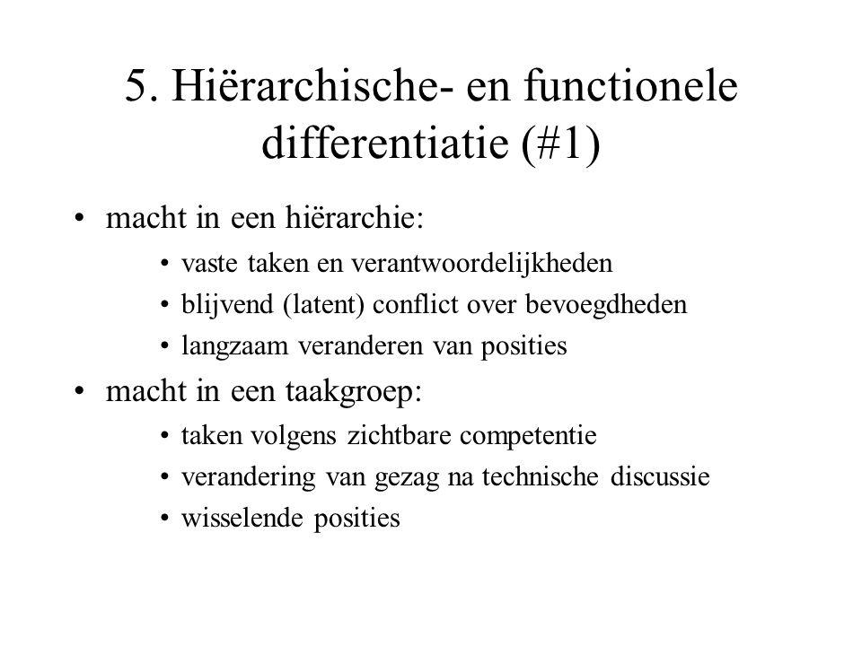 5. Hiërarchische- en functionele differentiatie (#1) macht in een hiërarchie: vaste taken en verantwoordelijkheden blijvend (latent) conflict over bev