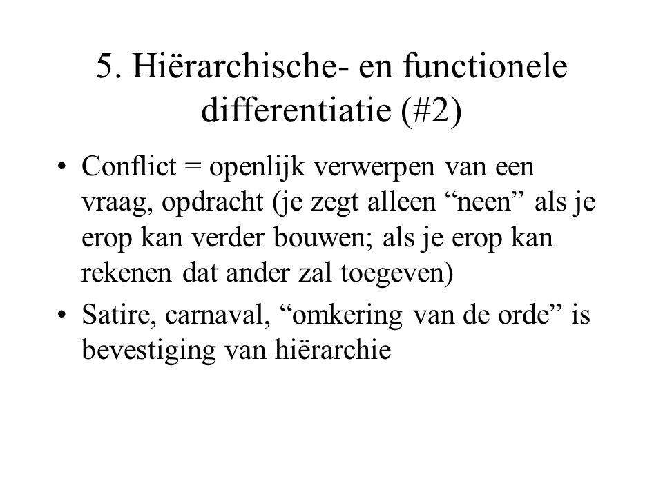 """5. Hiërarchische- en functionele differentiatie (#2) Conflict = openlijk verwerpen van een vraag, opdracht (je zegt alleen """"neen"""" als je erop kan verd"""