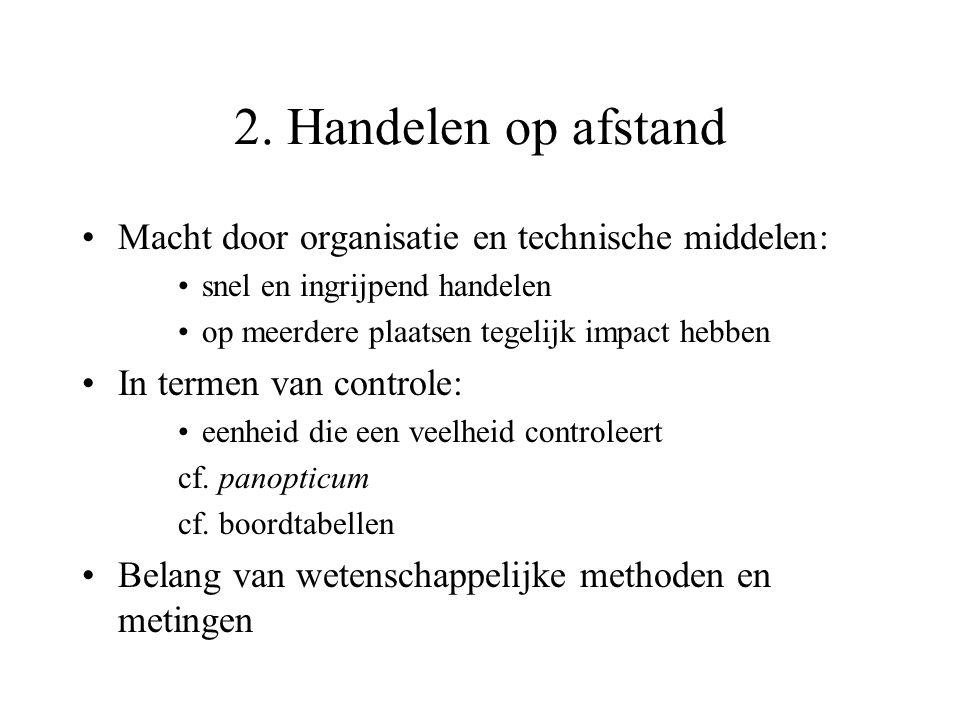 2. Handelen op afstand Macht door organisatie en technische middelen: snel en ingrijpend handelen op meerdere plaatsen tegelijk impact hebben In terme