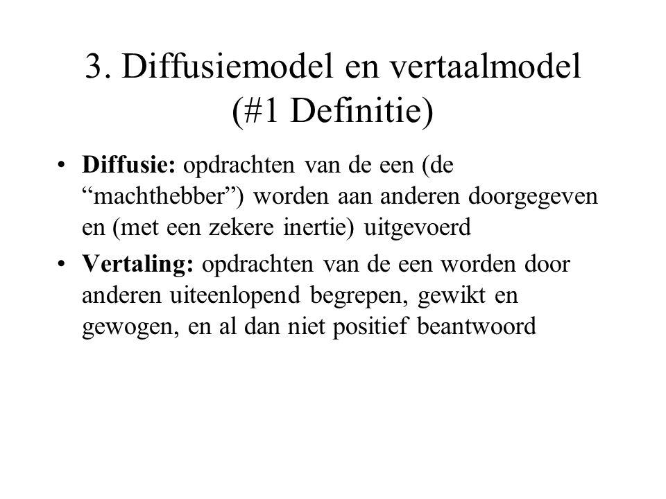 """3. Diffusiemodel en vertaalmodel (#1 Definitie) Diffusie: opdrachten van de een (de """"machthebber"""") worden aan anderen doorgegeven en (met een zekere i"""