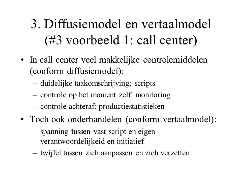 3. Diffusiemodel en vertaalmodel (#3 voorbeeld 1: call center) In call center veel makkelijke controlemiddelen (conform diffusiemodel): –duidelijke ta