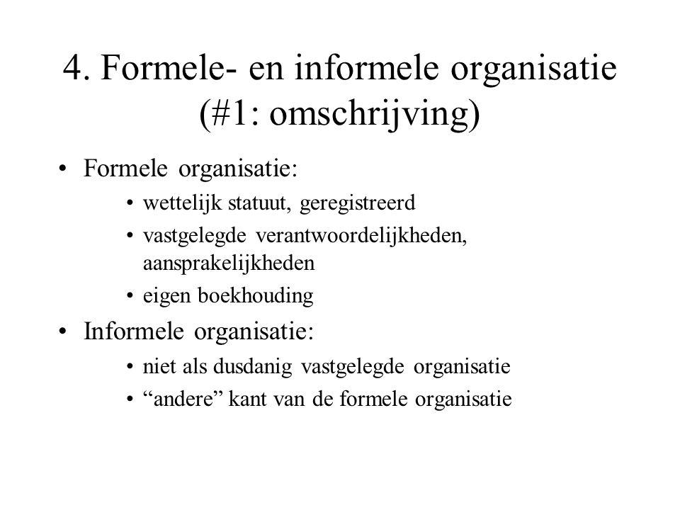4. Formele- en informele organisatie (#1: omschrijving) Formele organisatie: wettelijk statuut, geregistreerd vastgelegde verantwoordelijkheden, aansp
