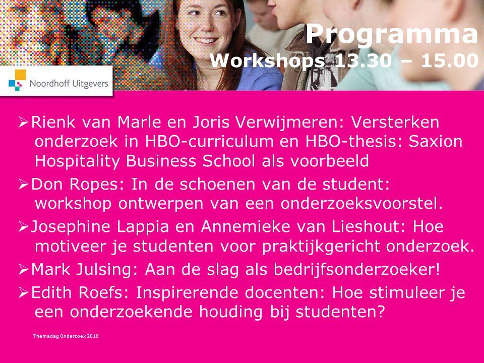 Themadag Onderzoek 2010 Programma Workshops 13.30 – 15.00  Rienk van Marle en Joris Verwijmeren: Versterken onderzoek in HBO-curriculum en HBO-thesis