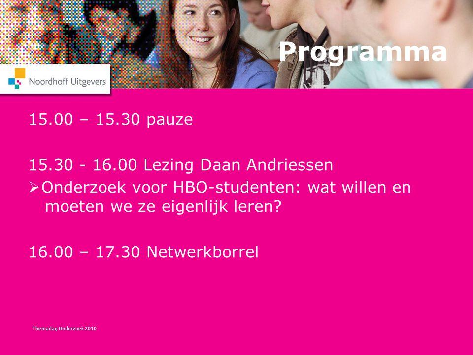 Themadag Onderzoek 2010 Programma 15.00 – 15.30 pauze 15.30 - 16.00 Lezing Daan Andriessen  Onderzoek voor HBO-studenten: wat willen en moeten we ze eigenlijk leren.