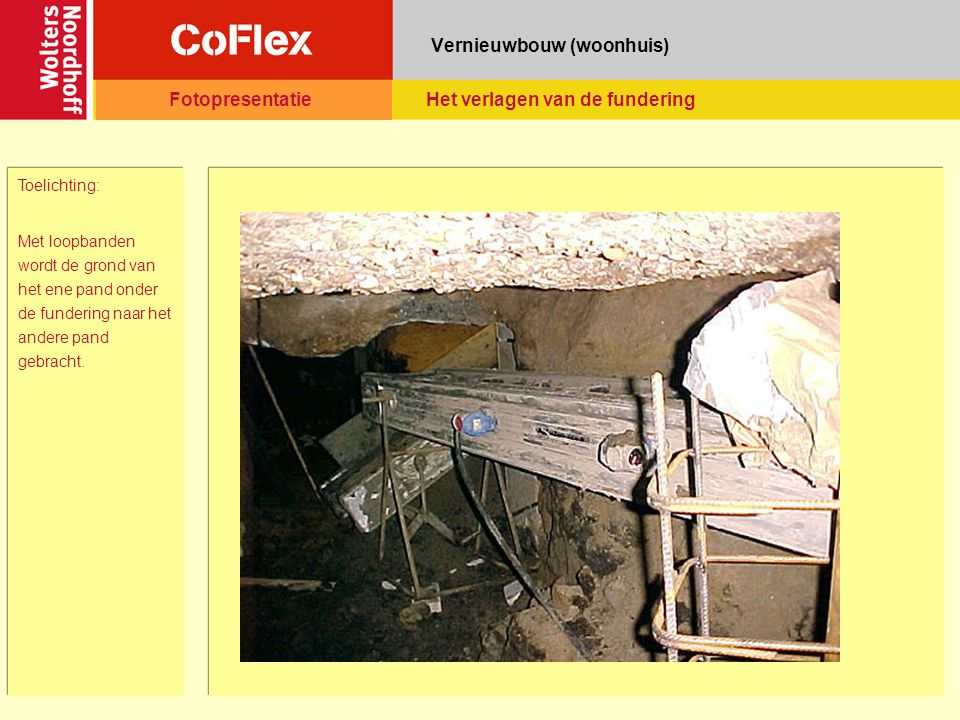 Vernieuwbouw (woonhuis) Toelichting: Met loopbanden wordt de grond van het ene pand onder de fundering naar het andere pand gebracht.