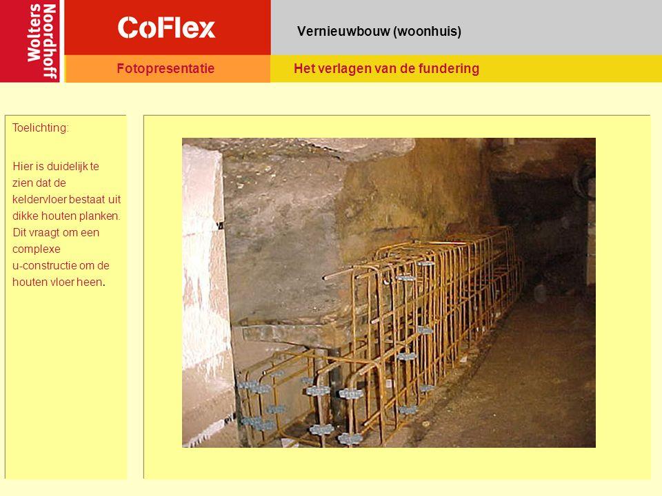 Vernieuwbouw (woonhuis) Toelichting: Weer de kelder, waarbij in de draagmuur op de vloer gaten zijn uitgehakt, zodat de betonnen u- constructie hierin vastgezet kan worden FotopresentatieHet verlagen van de fundering