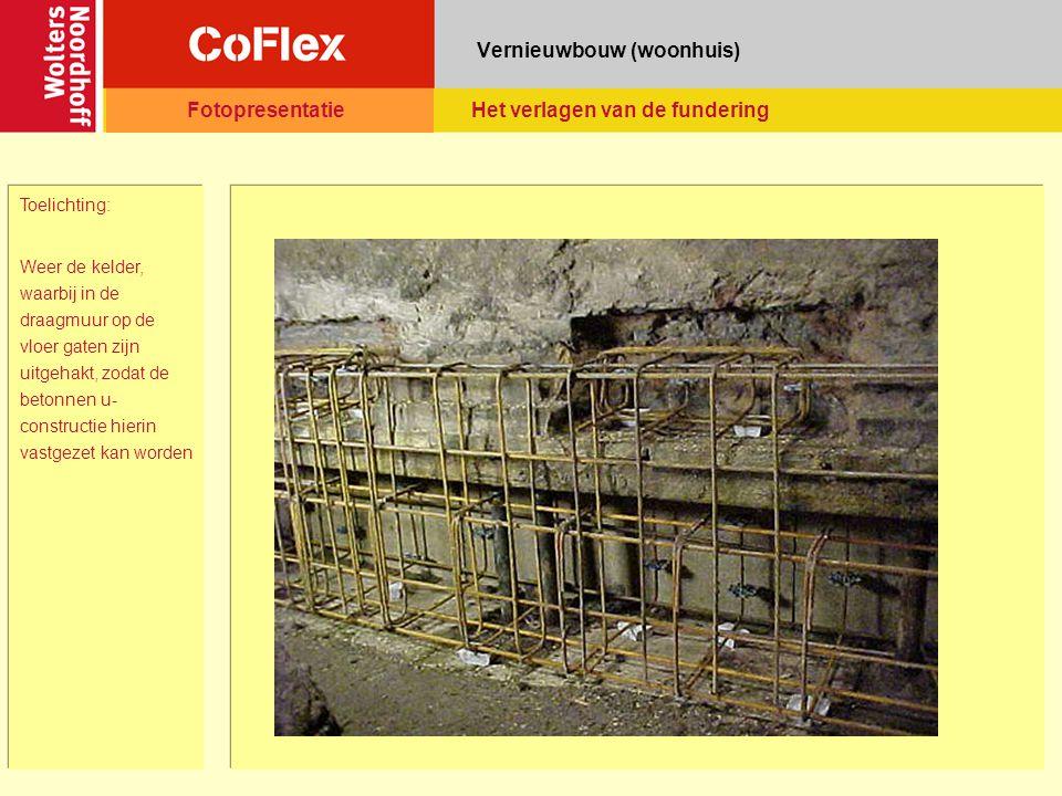 Vernieuwbouw (woonhuis) Toelichting: Weer de kelder, waarbij in de draagmuur op de vloer gaten zijn uitgehakt, zodat de betonnen u- constructie hierin