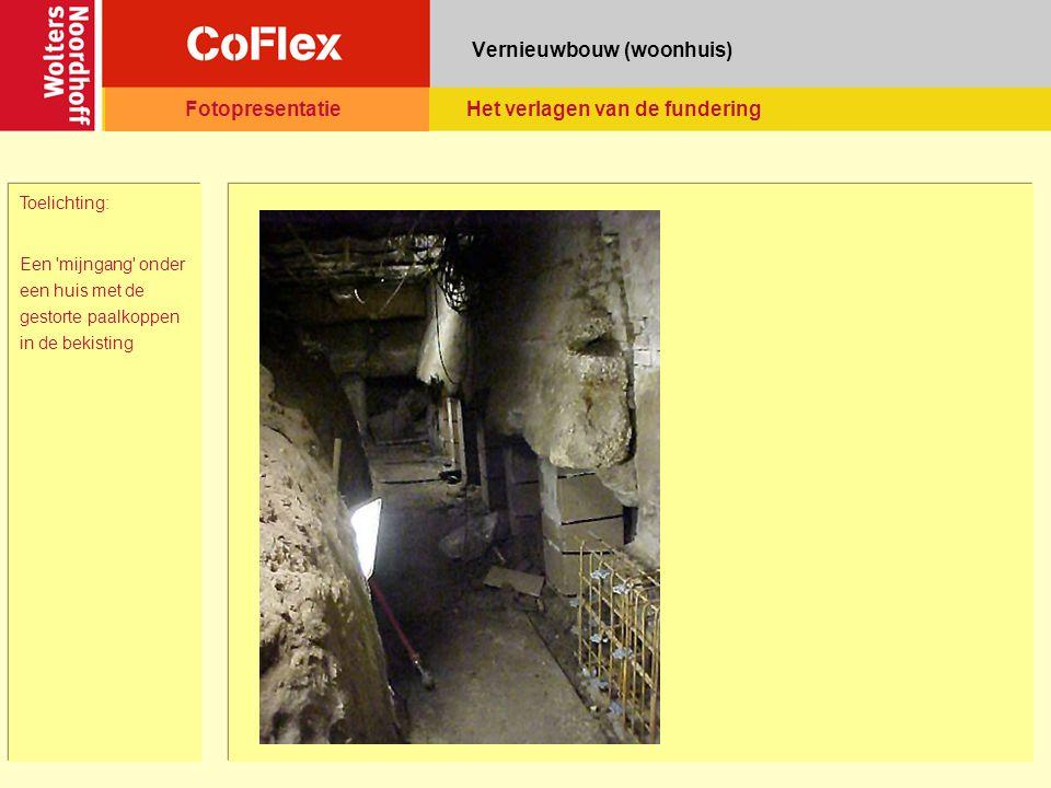 Vernieuwbouw (woonhuis) Toelichting: Een 'mijngang' onder een huis met de gestorte paalkoppen in de bekisting FotopresentatieHet verlagen van de funde