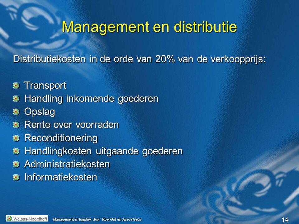 14 Management en logistiek door Roel Grit en Jan de Geus Management en distributie Distributiekosten in de orde van 20% van de verkoopprijs: Transport
