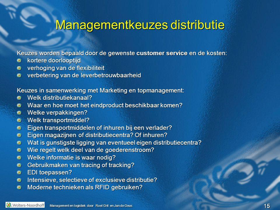15 Management en logistiek door Roel Grit en Jan de Geus Managementkeuzes distributie Keuzes worden bepaald door de gewenste customer service en de ko