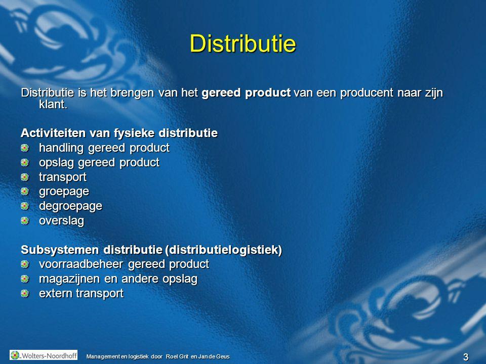 3 Management en logistiek door Roel Grit en Jan de Geus Distributie Distributie is het brengen van het gereed product van een producent naar zijn klan