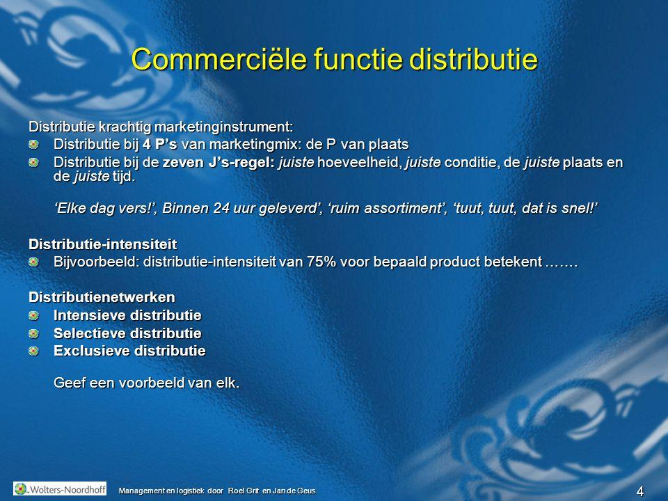 4 Management en logistiek door Roel Grit en Jan de Geus Commerciële functie distributie Distributie krachtig marketinginstrument: Distributie bij 4 P'