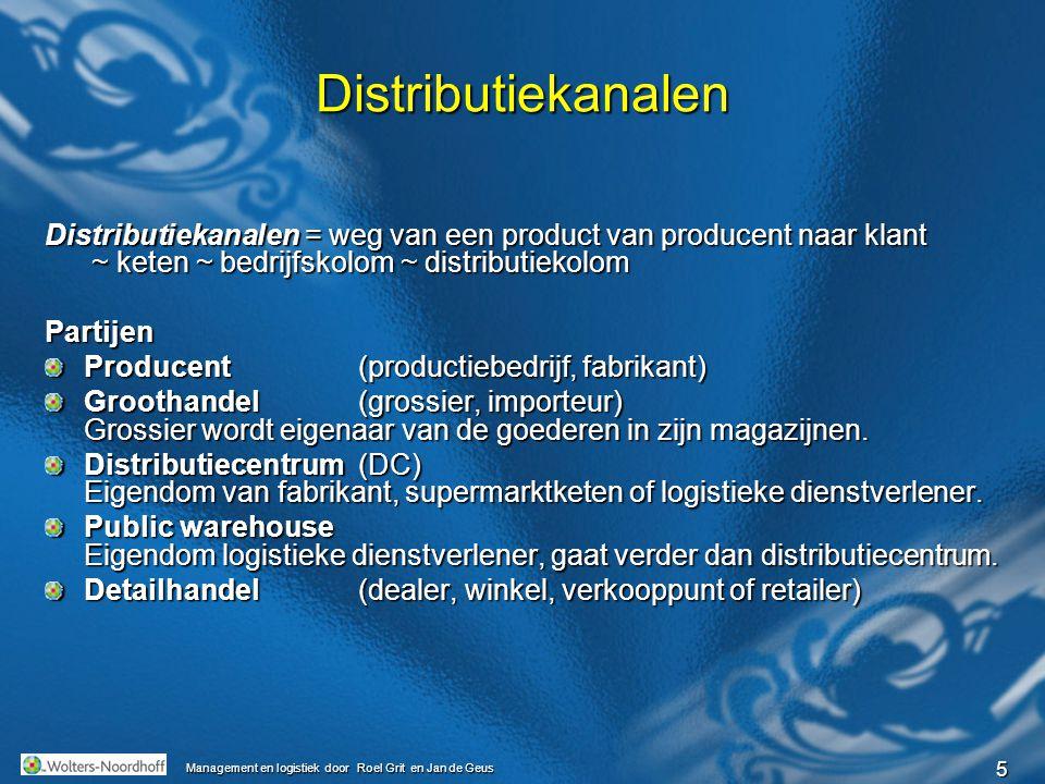 5 Management en logistiek door Roel Grit en Jan de Geus Distributiekanalen Distributiekanalen = weg van een product van producent naar klant ~ keten ~