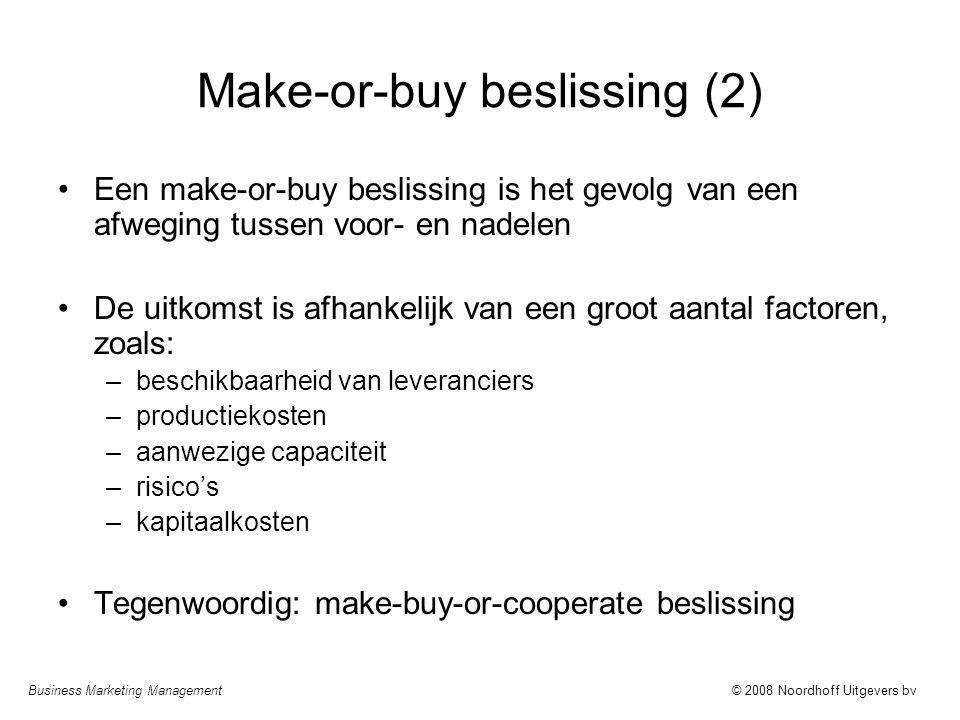 Business Marketing Management© 2008 Noordhoff Uitgevers bv Make-or-buy beslissing (2) Een make-or-buy beslissing is het gevolg van een afweging tussen